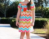 Girls Chevron Dress-peasant dress,short sleeve, spring dress, elastic neck, baby, toddler, girls, spring dress, Easter dress, flower sash