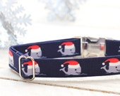 Christmas Dog Collar - Christmas in July, Whale in Santa Hat, Ocean w/ Metal Buckle