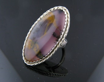 Moss Agate, Sterling Silver Ring