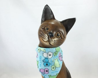 Reversible blue cat or kitten over the collar bandanna, bandanna for small pet, pet scarf