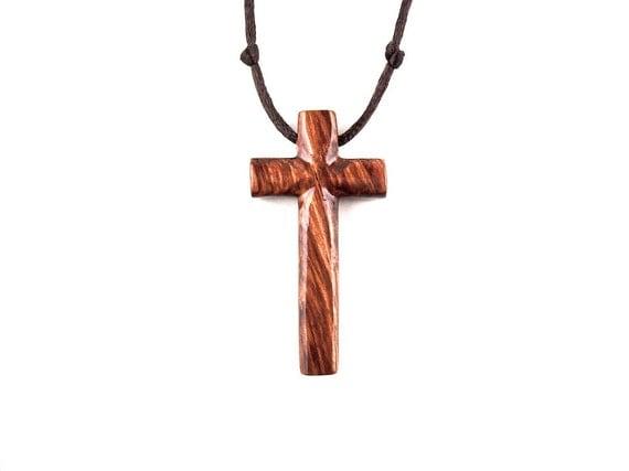 Wood Cross Necklace Wooden Cross Pendant Wooden Cross