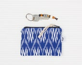SALE - FREE SHIPPING: Ikat coin wallet, boho zipper pouch small, gift for girl