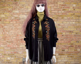 crown jewels embellished blouse / bedazzled / black button up / tacky top / gold studded / jeweled blouse / womens button up / new wave