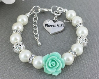 Mint Green Flower and Ivory Bracelet, Girl Jewelry, Flower Girl Gift, Ivory Bracelet, Child Bracelet, Mint Green Wedding