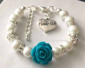 Dark Turquoise Flower and Ivory Pearl Bracelet, Flower Girl Jewelry, Flower Girl Gift, Ivory Bracelet, Children Bracelet, Turquoise Wedding