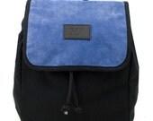 Sienna Globe Split Leather Backpack, Canvas and Split Leather Backpack, Mediterranean Inspired, Women's Backpack