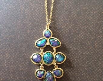 Beaded Necklace - Beaded Jewelry - Beaded Pendant Necklace - Iridescent Necklace - Iridescent Jewelry - Blue Necklace - Blue Jewelry