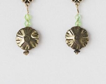 Titanium Disc Wheel Earrings Hill Tribes Silver Stud Earrings Handmade OOAK