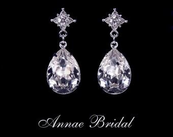 """Crystal teardrop earrings, Bridal, wedding, Swarovski, clear, silver, """"Starlight Romance"""" earrings"""