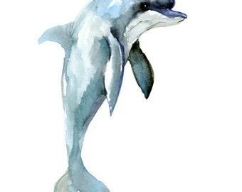 Dolphin, 12 x 9 in, original watercolor painting 12 X 9 in, dolphin art dolphin painting, dolphin illustration, one of  a kind children room