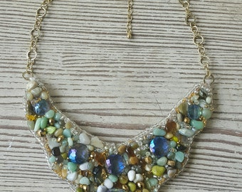 Multi Color Mint Sea Foam Green Bib Statement Necklace- Bib Briolette Chunky Necklace- Antique Gold Chain