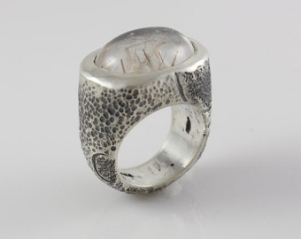 Handmade Textured Sterling Silver Ring with Gold Rutilated Quartz
