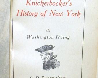 1890s Diedrich Knickerbocker, Antiquarian Book, A History of New York, Washington Irving, Handy Volume, G.P. Putnam's Sons