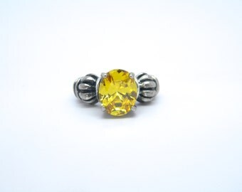 Gorgeous Sterling Silver Ring with Yellow Stone
