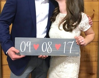 Wedding Save The Date Sign, Rustic Wedding Decor, Wedding Date Sign, Engagement Photo Prop Sign, Rustic Wedding Decor