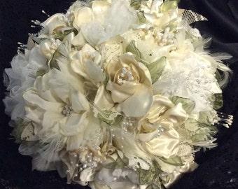 White and Ivory Wedding Flower Bouquet-Bridal Flowers-Bride's Flowers-Handmade Fabric flower Bouquet-Wedding-Victorian-Boho-Gatsby-Romantic
