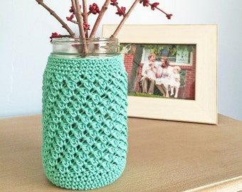 Crochet Pattern - Mason Jar Cozy Cover (Mason Jar Cozy Crochet Pattern by Little Monkeys Crochet) Ball Mason Jar Cover Cozy Crochet Wedding