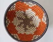 Handwoven Basket / Small / Geometric Pattern /  Orange & Gray / African