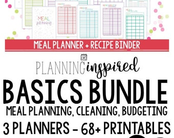 50% OFF Printable Planning Inspired Basics Bundle, Budgeting, Cleaning, + Meal Planning, Half Letter Size, 68+ Printables!