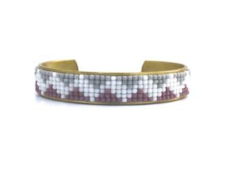 Hand Beaded Cuff Bracelet, Seed Bead Loom Bracelet, Adjustable Bracelet, Lavender, Gray, and White Zig Zag, Boho Cuff, Tribal Style