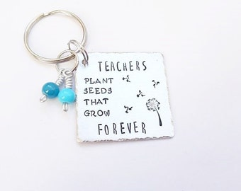 Teacher Gift , Handstamped teachers keyring, End Of Term Gift, Teacher appreciation gift, Teacher assistant gift,  gift, Valentines