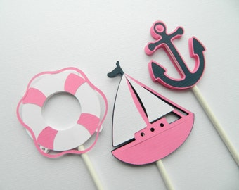 12 (3 Designs) Hot Pink Nautical Cupcake Toppers, Cupcake Toppers, Sailboat Cupcake Toppers, Anchor Cupcake Toppers