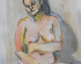 Original figure study, pen and ink, watercolour washes on paper, from live female model, 11 X 14, Figure 71