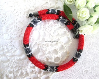 Snake rope Aspid choker Bead Crochet Necklace Beaded necklace Red Gray Black Office jewelry Python stylish For her For girlfriend Gift