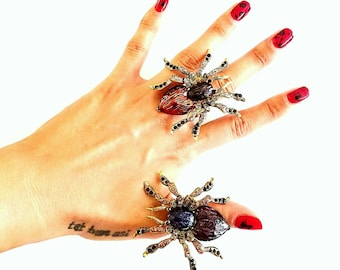 Spider Rings, Spider Ring, Gothic Rings, Witch Ring, Halloween Accessories, Halloween Jewelry, Rhinestone Tarantula Ring, Scary Rings