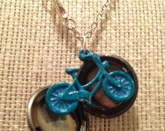 "20"" Silver&Blue Bicycle Locket"