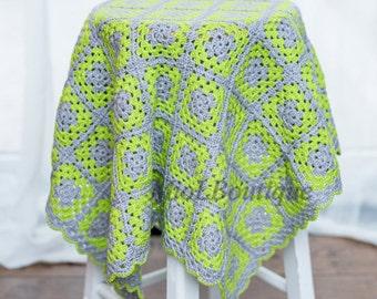 Baby Blanket Crochet Afghan Christening Green Grey White Baby Girl Crochet Blanket Granny Square Blanket Gift for baby Baby shower gift