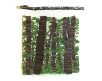 Woodland Scene Woven Tapestry Wall Hanging, Green, White, Brown hanging on Driftwood Branch, Nature Weaving Home Decor, Freestyle Woven Art