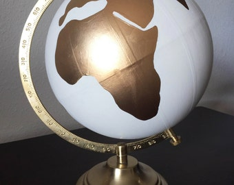 "Hand Painted 12"" Wedding Globe, Hand Lettering, White and Gold, Wanderlust -- Custom Made To Order"