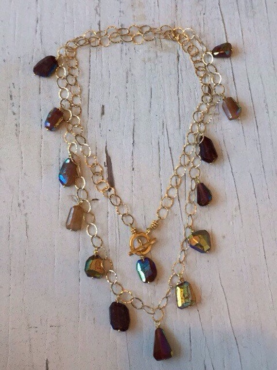 SALE! Aurora Borealis hesonite garnets suspended from 14k gold filled chain long necklace handmade OOAK from LadeDAH! Jewelry