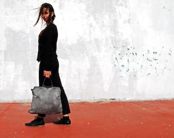 Gray leather handbag, women leather handbag, gray leather bag, backpack handbag, women backpack, leather backpack, school backpack, for her