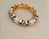 Joan Rivers Stretch Bracelet Black and White with Crystals - S1784