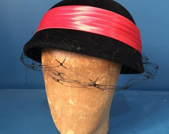1960s Mar-Field Black Velvet Cloche with Veil and Watermelon Band