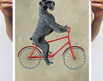 Schnauzer Poster : Art Print A3 Illustration Giclee Print Wall art Wall Hanging Wall Decor Animal Painting Digital Art, Dog on bicycle