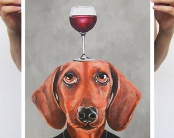 Daschund Poster : Art Print A3 Illustration Giclee Print Wall art Wall Hanging Animal Painting Digital Art, Daschund with wineglass