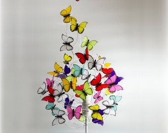 Exodus table lamp with multicolor butterflies, rainbow, original gift idea, kids decor, woman gift,shadow lamp,flowers,spring