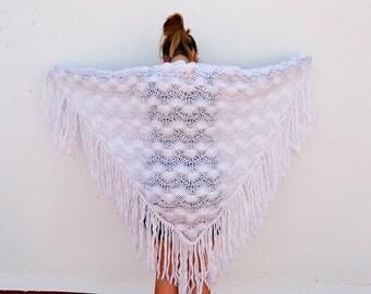 white shawl handmade big