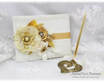 Wedding Lace Guest Book  Pen Holder Set Custom Bridal Flower Brooch Guest Books Birthday Book in Ivory, Gold