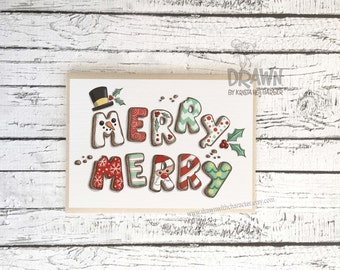 Christmas Holiday Greeting Cards: Merry Merry Cookies