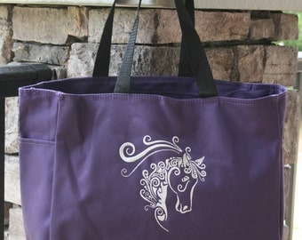 Girls Tote Bag Embroidered Horse