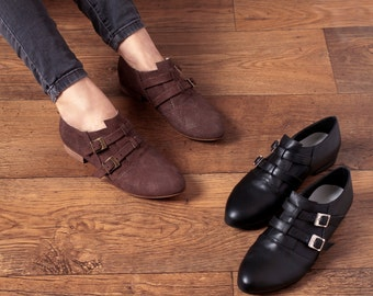 SALE!! Womens Monk Shoes , Loafer Shoes , Flats , Casual Leather Shoes , Buckle Shoes , Handmade Shoes