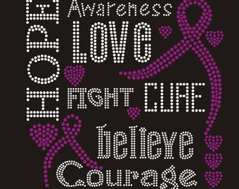 Cancer Cure Hope Love Hot fix Rhinestone Iron on Transfer