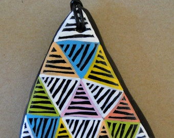 Large Painted Pebble Pendant Necklace - Colourful Triangles