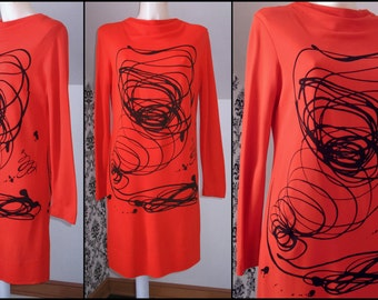 Rare 60s 70s JACKSON POLLOCK-INSPIRED Abstract Spatter Swirl Print Dress, Avant Garde Wearable Art, Orangy-Red & Black Poly Jersey, Size Med