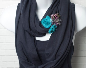 Blue Infinity Scarf - Bamboo and Organic Cotton Lightweight Jersey with Teal and Purple Shabby Flowers Circle Scarf Ready to Ship