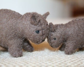 Wander and joey  Digby FELT WOMBATS Eco Friendly by MOLICAAustralia